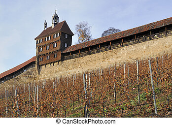 castle walls, esslingen - view of ancient fortifications of...