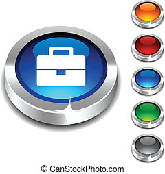 Bag 3d button. -  Bag 3d button set. Vector illustration.
