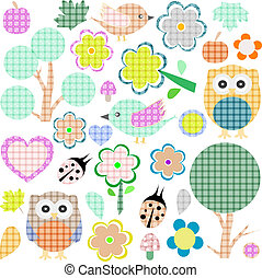 Set of nature and animalstextile stickers