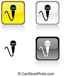 Mic button. - Mic glossy square vibrant buttons. .