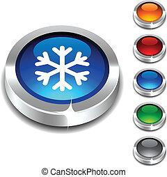 Snowflake 3d button.