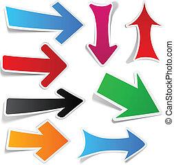 Color, flechas, Pegatina, Conjunto