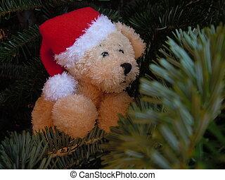 stuffed animal toy dog and christmas tree
