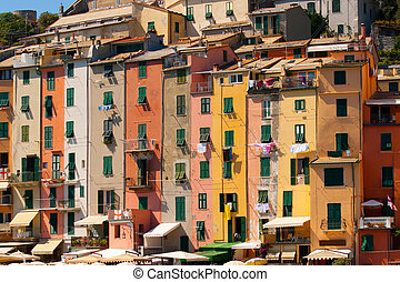 Row Houses, Portovenere, Italy - Colorful rowhouses and...