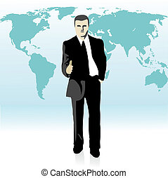 Businessman stretching out his hand in front of the world`s...
