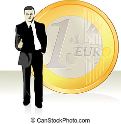 Businessman stretching out his hand in front of the Euro...