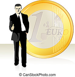 Businessman  and Euro coin