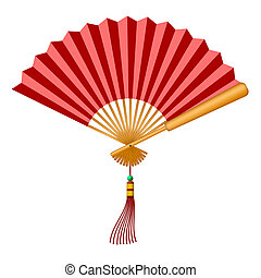Chinese Fan with Tassel and Jade Bead - Chinese Folding Fan...
