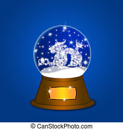 Water Snow Globe with Chinese Dragon Blue