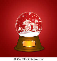 Water Snow Globe with Chinese Dragon Red