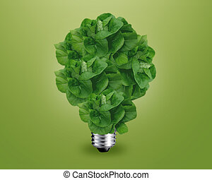 Green light bulb idea - ecology concept, Green light bulb as...