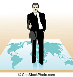 Businessman standing on the world`s