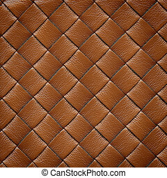Leather background - Brown leather woven texture background