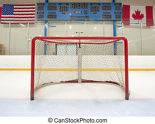 Hockey net with scoreboard - Ice hockey empty net with...