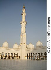 Abu Dhabi, Sheikh Zayed mosque with blue sky