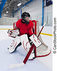 Ice hockey goalie. Picture taken on ice rink arena.