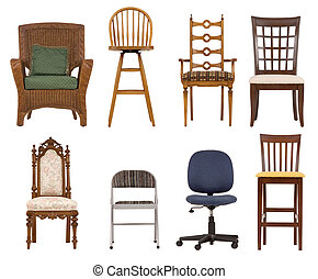 Assortment of chairs isolated of white background