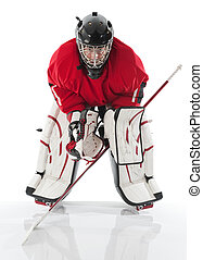 Ice hockey goalie Photo on white background
