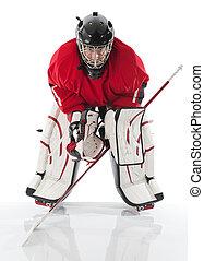 Ice hockey goalie. Photo on white background