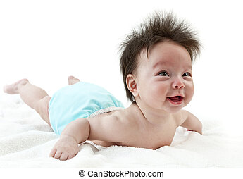 Baby tummy time - Baby smiling while practicing tummy time...