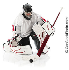 Ice hockey goalie blocking a puck with stick Photo on white...