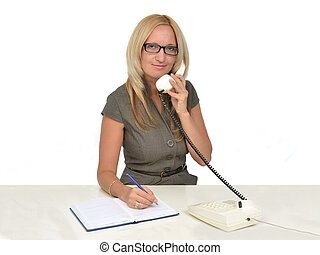 Business woman in office talking by phone - Business woman...
