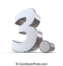 Shiny 3rd with Round Dot - Metallic - shiny 3d number 3rd...