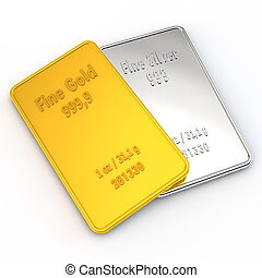 1 ounce of Gold and Silver - a small gold and a silver bar...