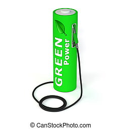 Battery Petrol Station - Green Power - alternative energy...