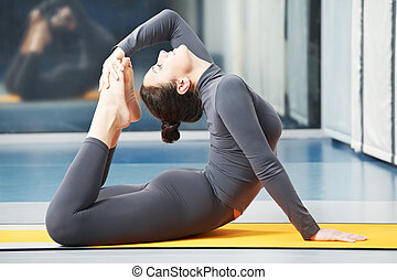 Happy smiling woman at gymnastic fitness exercise - Happy...