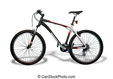 Mountain bicycle bike with shadow isolated on white...