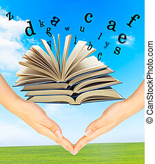 Magic Book and the letters over hands