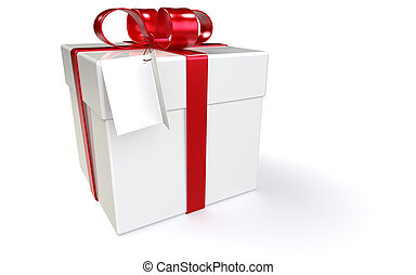 Gift Box with Tag Blank for Copy Space