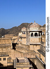 inside beautiful Amber Fort in Jaiput