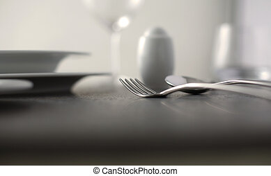 Elegant close up of a restaurant table,soft focus