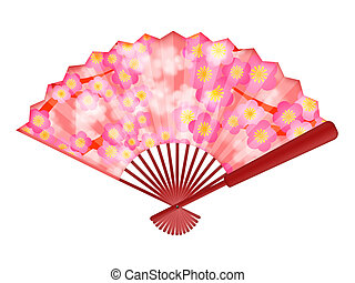 Chinese Fan with Cherry Blossom Flowers