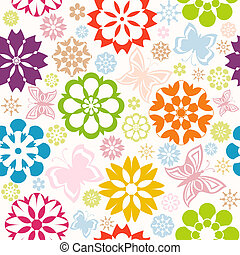 vector illustration of a colorful seamless pattern with  flowers and butterflies