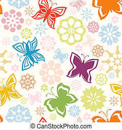 vector illustration of a colorful seamless pattern with  butterflies and flowers