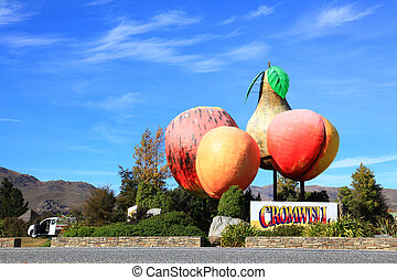 Cromwell town in New Zealand - Fruit Logo of Cromwell town...