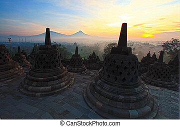 Borobudur Temple Indonesia - Sunrise at Ancient stupa...