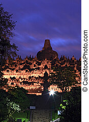 Borobudur Temple at Dusk in Yogyakarta, Java, Indonesia.