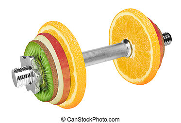Fruit dumbbell isolated on white background With clipping...
