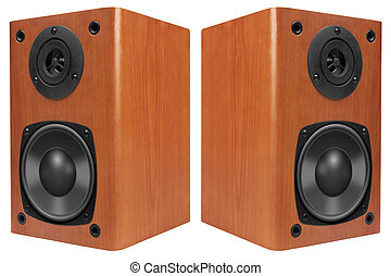 Wood Loud Speakers Isolated on White