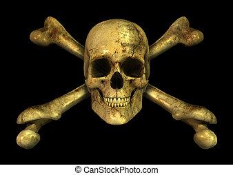 Grunge Skull Crossbones - 3D render of a grungy skull and...