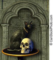 Egyptian Cat Statue with Human Skull - 3d render.