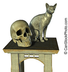 Still Life with Egyptian Cat Statue and Human Skull - 3D...