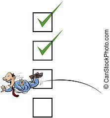 Jump Through Checks - A cartoon businessman jumps through a...