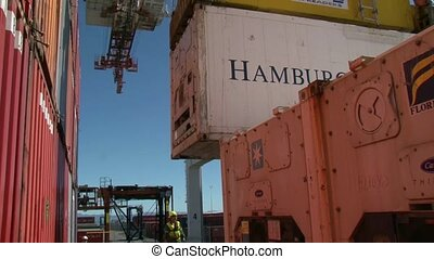 Container coming on ship