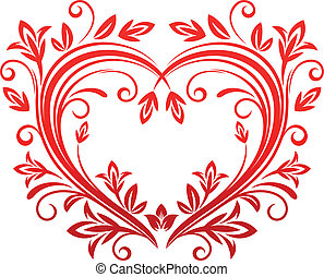 Valentine heart in floral style - Red floral heart for...