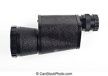 black monocular isolated on white background